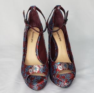 Gianni Bini Red Satin Floral Embroidered Pumps